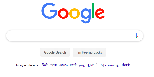 Home page of Google