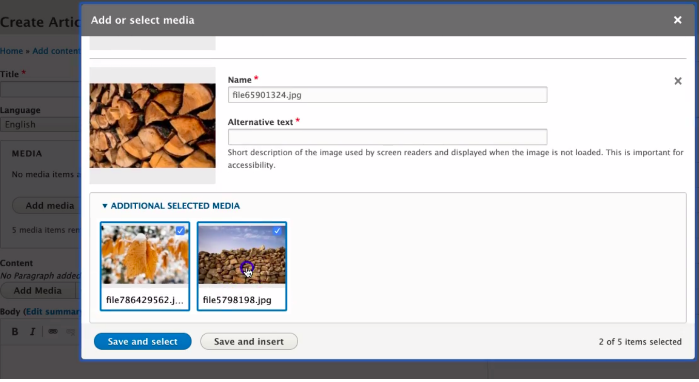 Screenshot of how to add new media in Layout Builder