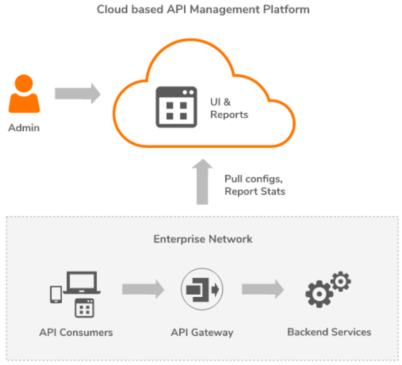 image showing a basic model for hybrid api management platform in orange and grey color