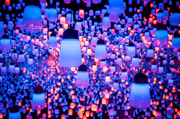 Image representing a clustered series of lights hanging with the walls in  blue, pink and orange colours