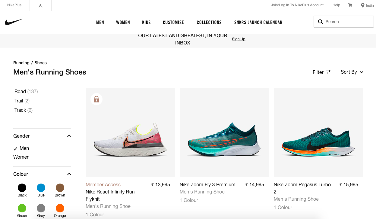 nike landing page with three shoes on display
