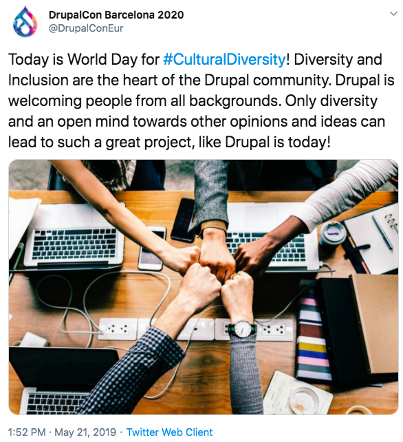 Tweet showing coloureful droplet like icon on top-left and text below about diversity and inclusion in Drupal event