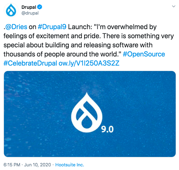 A tweet with drop like icon on top left, Drupal written beside it and a statement in the centre showing excitement over Drupal 9 launch