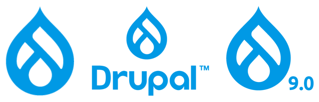 Different Drupal 9 logos with drop like icons and the word 'Drupal' written