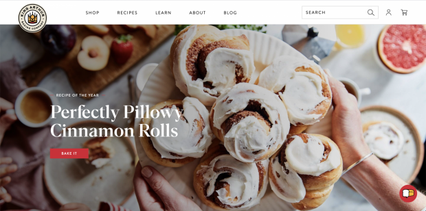 The screenshot of King Arthur Baking Company's website is shown.