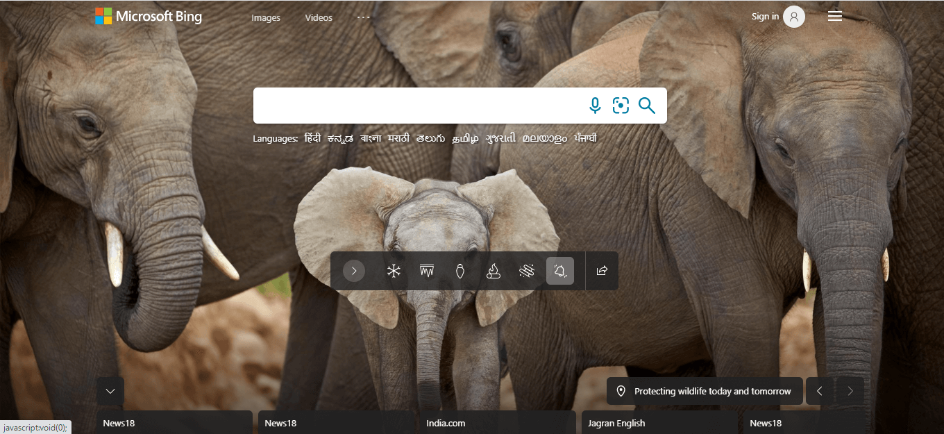 Microsoft bing's serach page can be seen.