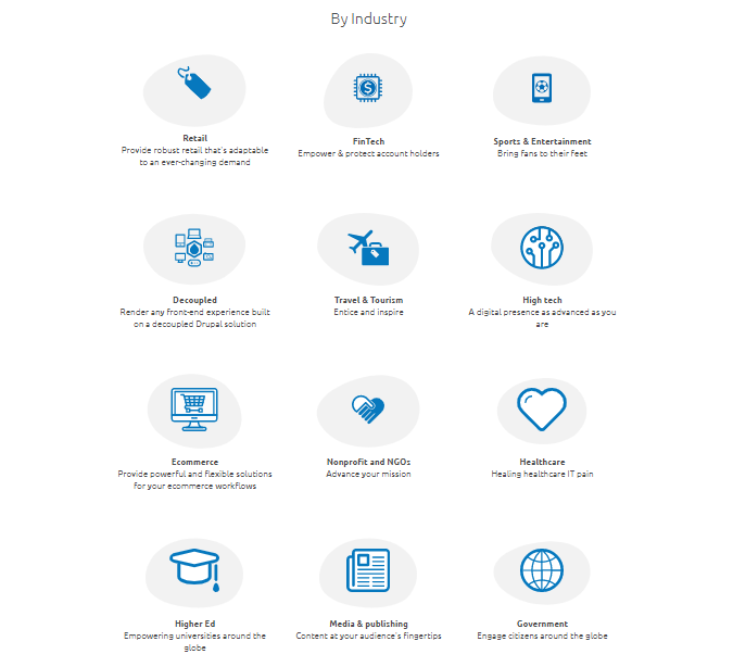 A list of the many sectors Drupal caters to is shown.