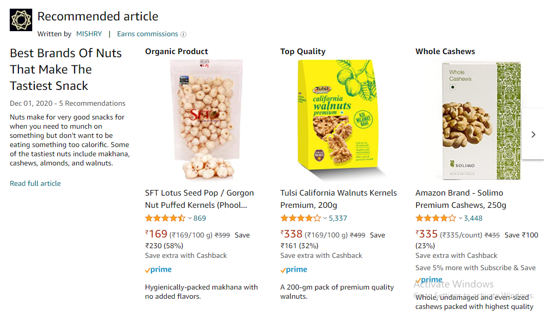 A screenshot of Amazon's product page can be seen.