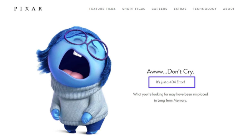 A crying cartoon is depicted in the image with the 404 error often seen on websites.