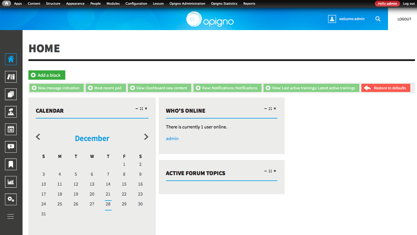 Demo for Opigno; homepage for opigno