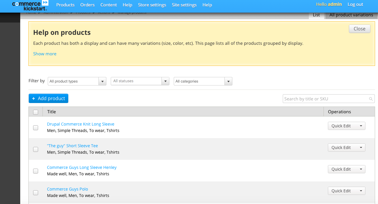 Adding products with Drupal Commerce Kickstart; admin overview with commerce kickstart