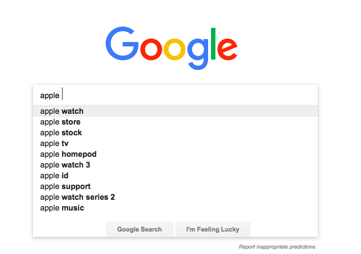 "Google suggestions for ""apple"""