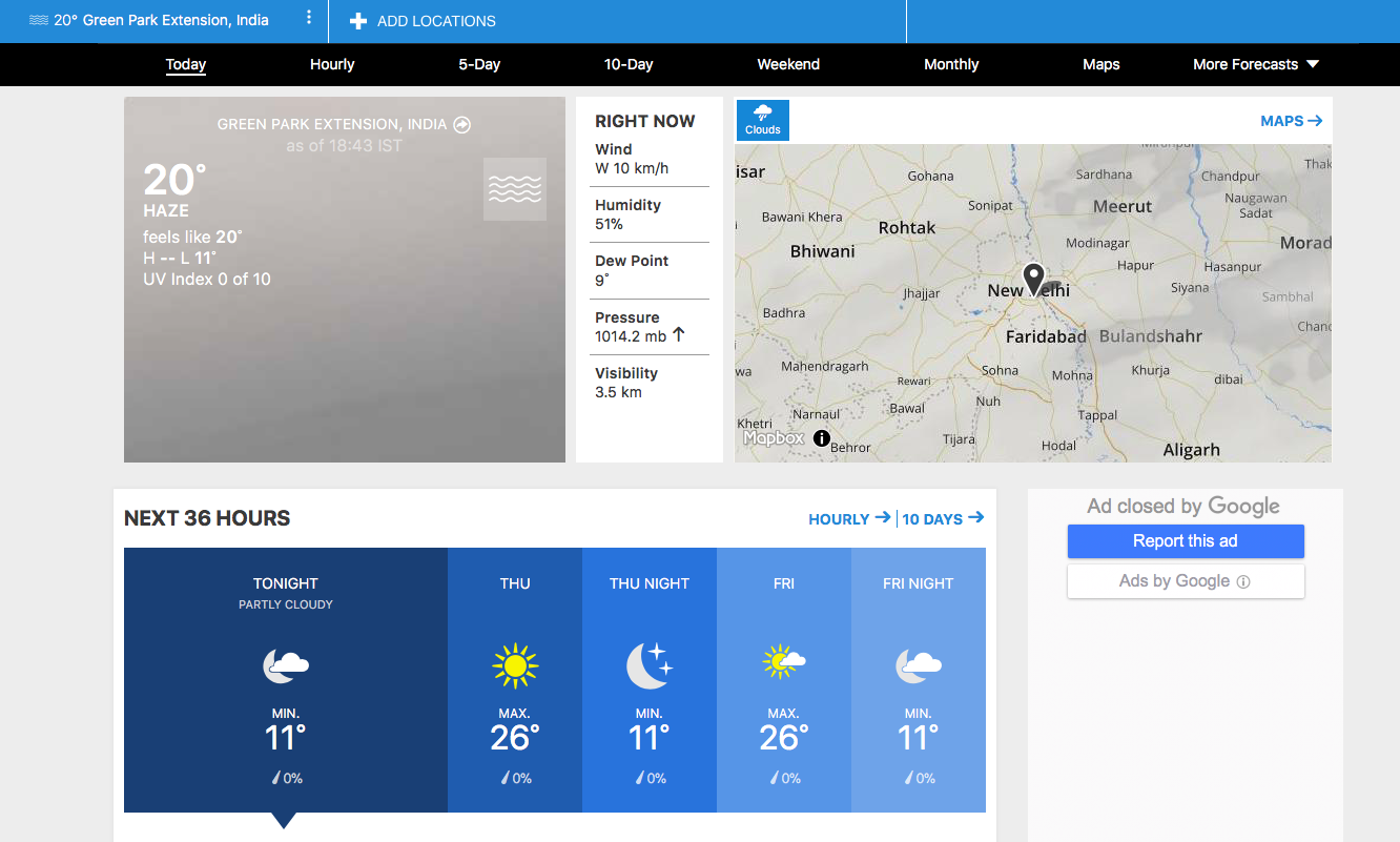 weather.com page; temperature and information for New Delhi and nearby areas
