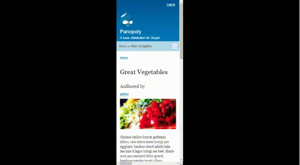 mobile version of website - great vegetables