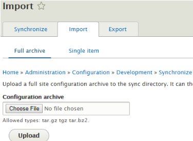 configure archive through imports