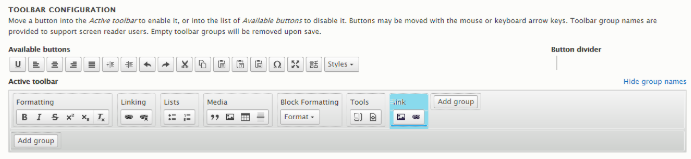 Highlighting the IMCE link manager and image manager icons