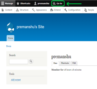 admin interface of a Drupal website with 'Go To' encircled