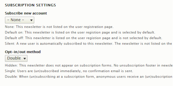changing the subscription settings