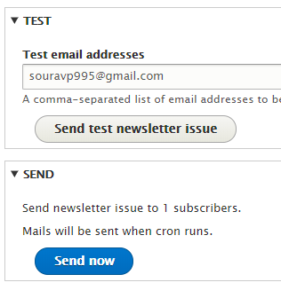 adding the test email address for the test newsletter