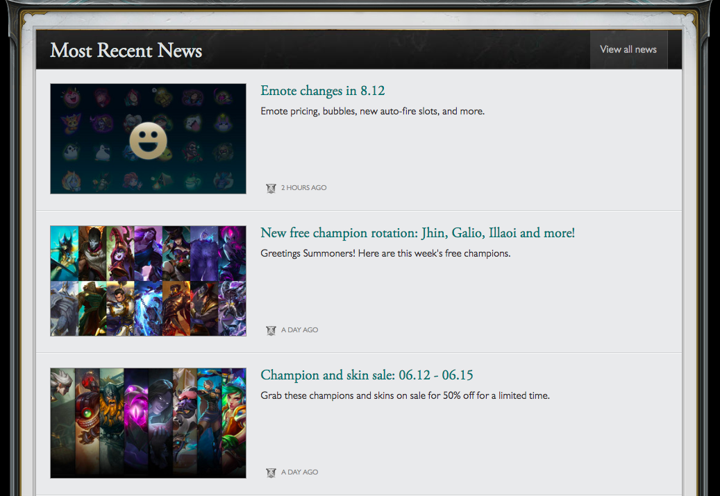 screenshot of leagues of legend with news section