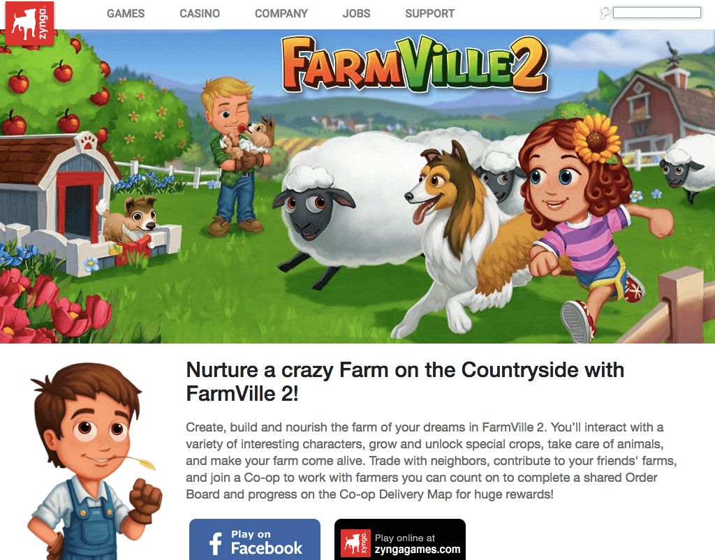 Farmville 2 description on Zynga