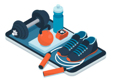 A graphic showing a pair of shoes, free weights, water bottle, and smart watch are placed over a smart phone