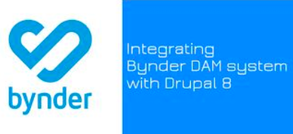 Bynder logo with the text'Integrating Bynder DAM systems with Drupal 8' written beside it