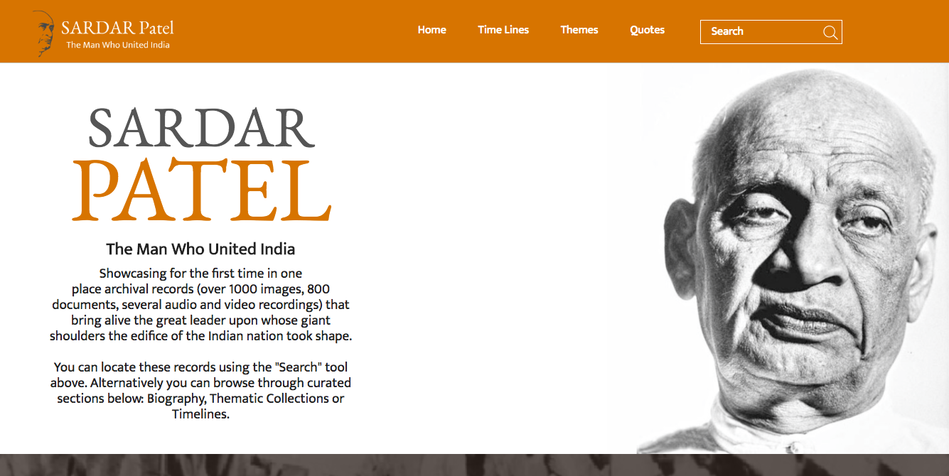 homepage of sardar patel website with his image on the right