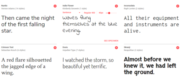 Snippet of Google Fonts