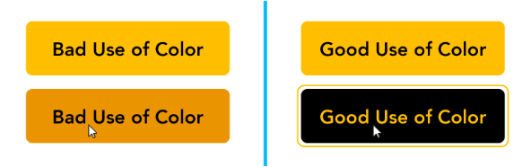 Two bad examples of contrast on left with black on yellow vs two good contrast example with yellow on black on right