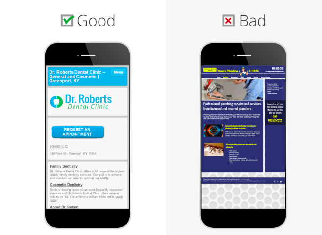 Image containing two mobiles displaying the differences between a good and bad mobile first design with appealing CTAs.