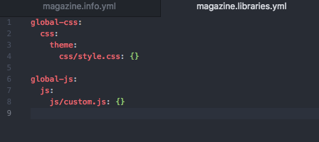 info.yml file with global-css, css, theme, css/style.css, global-js, js,js/custom.js