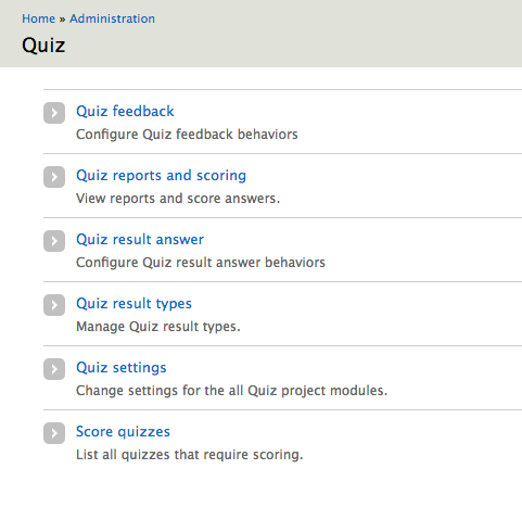 admin view of the quiz