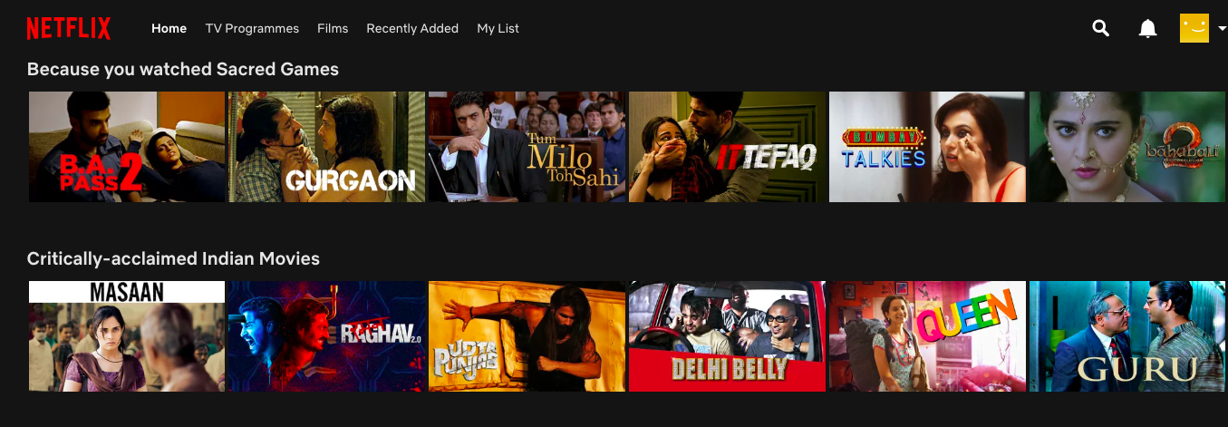 Netflix website showing six movies in two rows each