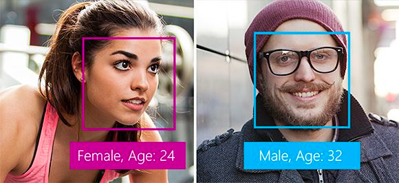 image of a recognition of a woman and man with a box on their face mentioning their age and sex