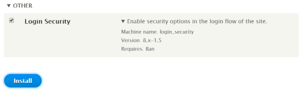 Enabling Login Security module using admin UI