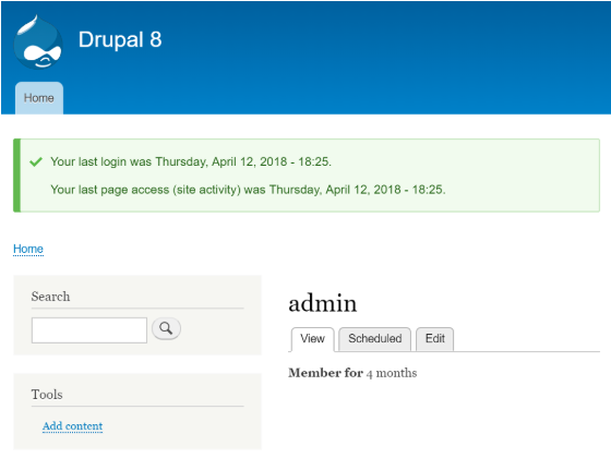 A Drupal message shows the last access and login timestamp to users after successful Login