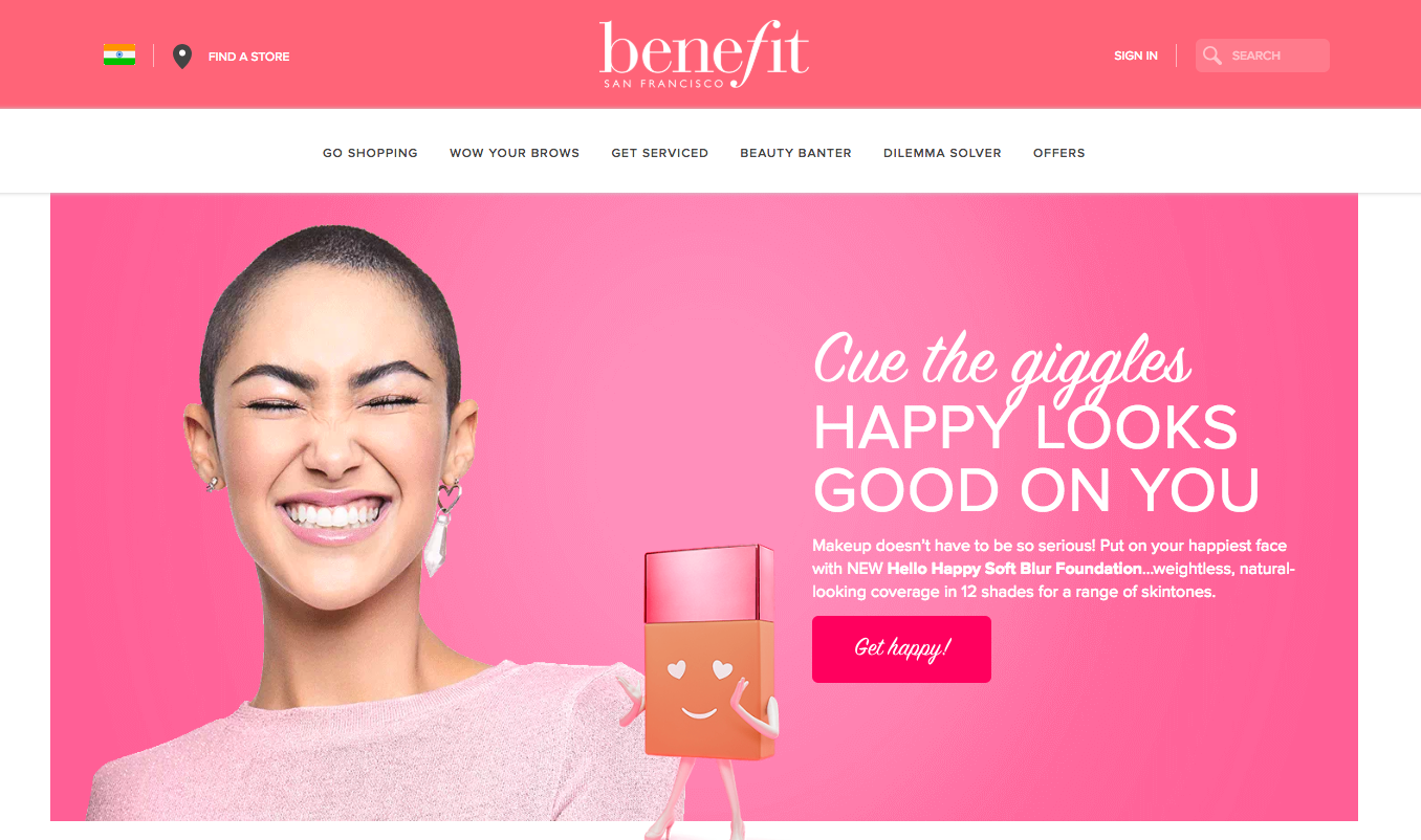 homepage of benefit san francisco with a pink block and a bald girl smiling