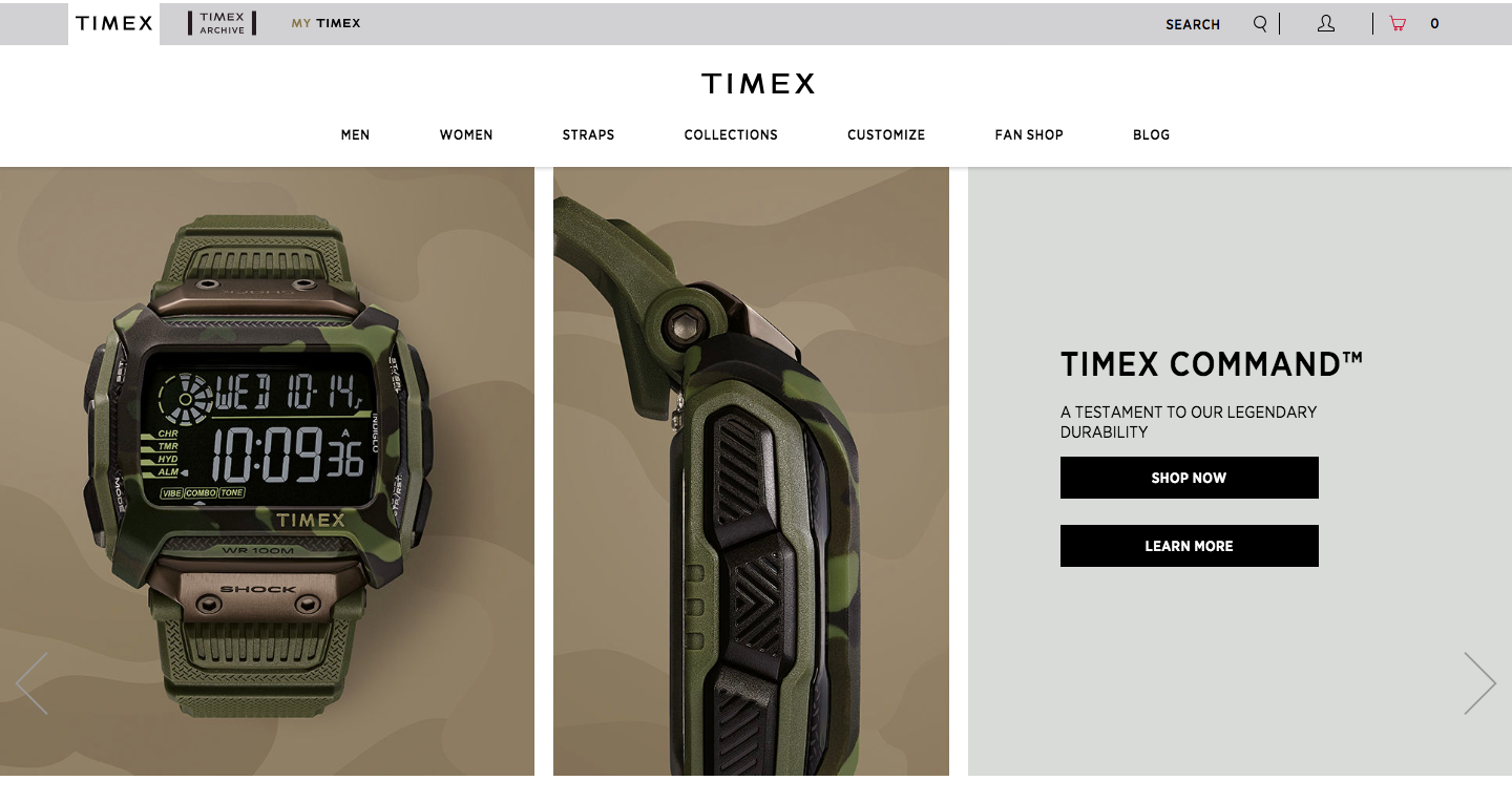 homepage of timex with one digital watch from two different angles