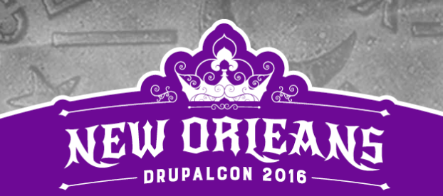 Logo of Drupalcon New Orleans 2016 with a crown-shaped icon