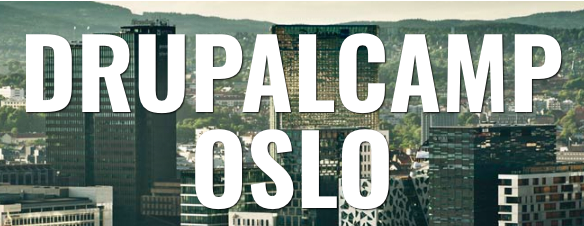 Logo of Drupalcamp Oslo 2015 with skyscrapers in the background