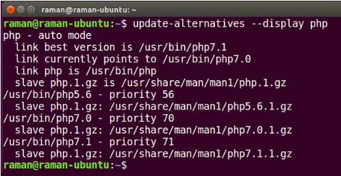 command line for raman@raman ubuntu