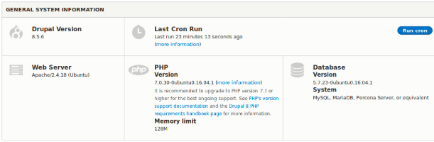 Checking the PHP version using Drupal's Status Report