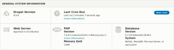 Observe that the PHP version has been updated to 7.2.9-1