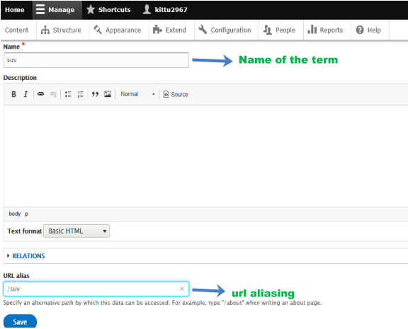 admin interface with adding terms and name of term and url aliasing highlighted