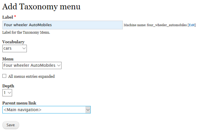 admin interface for adding taxonomy menu