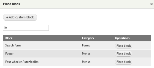 admin interface to place block with a table of three rows and three columns below it
