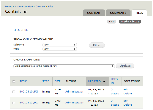 screenshot of the admin interface with media library