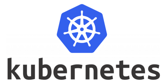 A blue septagon with a white sailor wheel inside it and kuberneter written