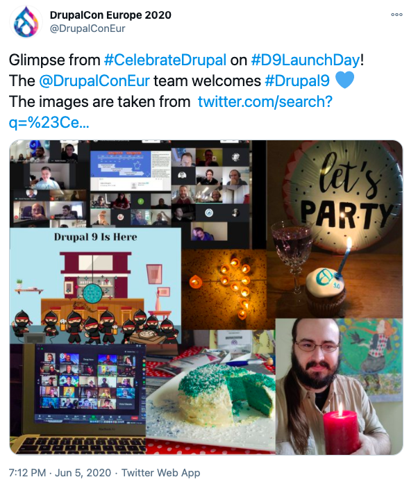 Snapshot of a tweet with a collage consisting of images of people and food items to show Drupal 9 celebration